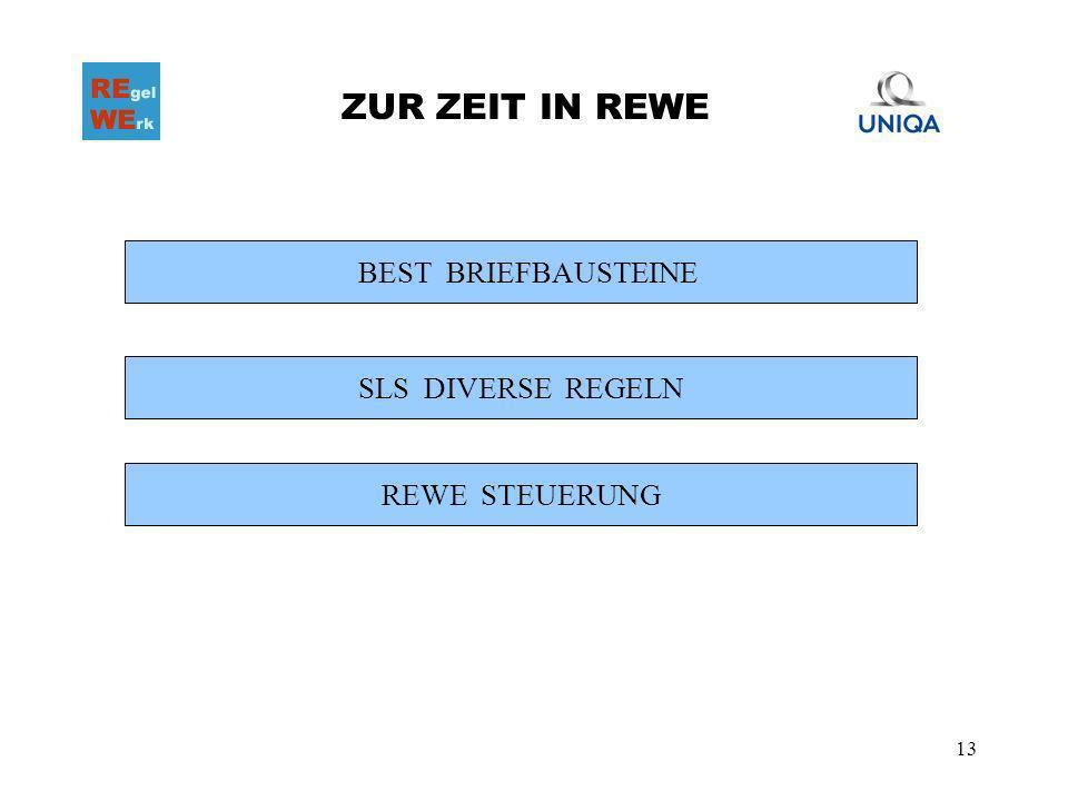 13 ZUR ZEIT IN REWE BEST BRIEFBAUSTEINE SLS DIVERSE REGELN REWE STEUERUNG