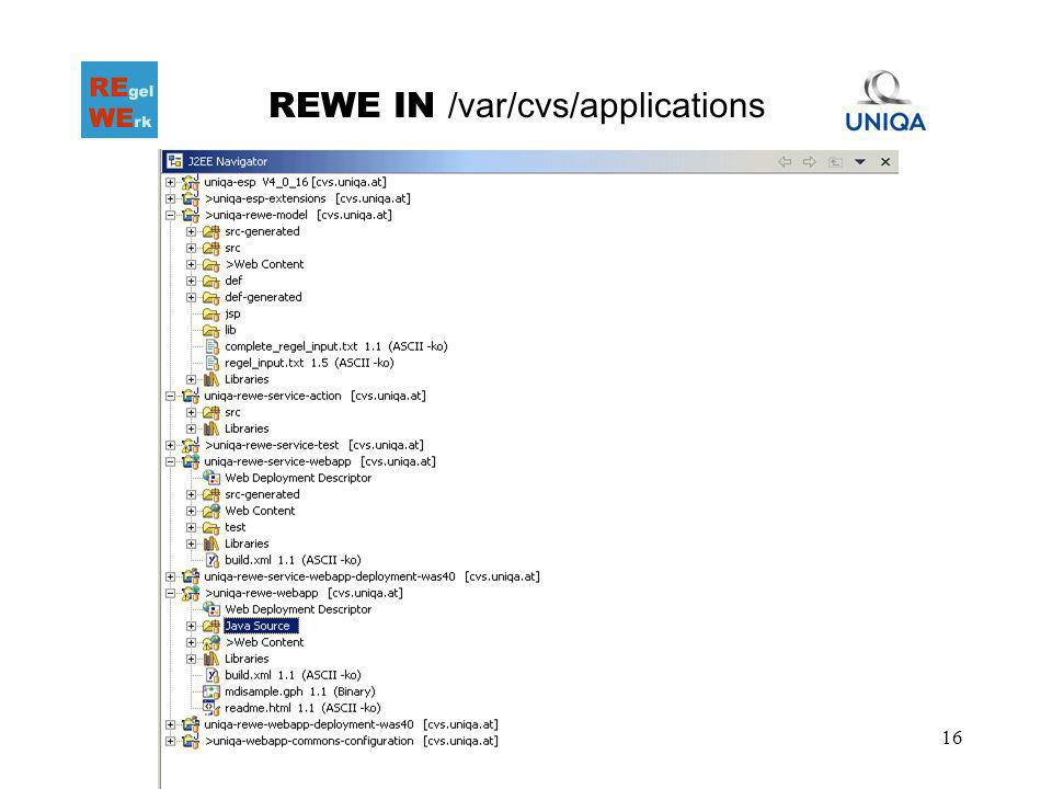 16 REWE IN /var/cvs/applications