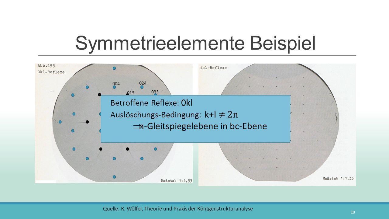 Symmetrieelemente Beispiel 10 000 011 020 002 013 004 031 033 024 Quelle: R. Wölfel, Theorie und Praxis der Röntgenstrukturanalyse Betroffene Reflexe