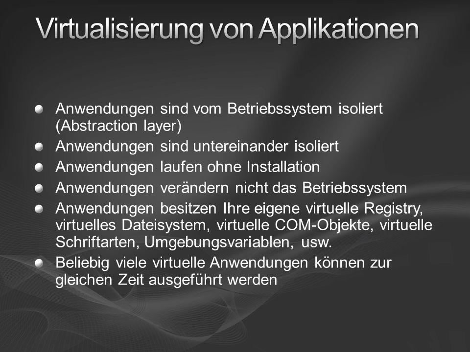 Anwendungen sind vom Betriebssystem isoliert (Abstraction layer) Anwendungen sind untereinander isoliert Anwendungen laufen ohne Installation Anwendungen verändern nicht das Betriebssystem Anwendungen besitzen Ihre eigene virtuelle Registry, virtuelles Dateisystem, virtuelle COM-Objekte, virtuelle Schriftarten, Umgebungsvariablen, usw.