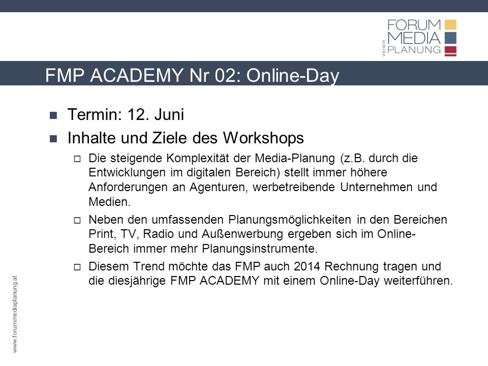 FMP ACADEMY Nr 02: Online-Day Termin: 12.