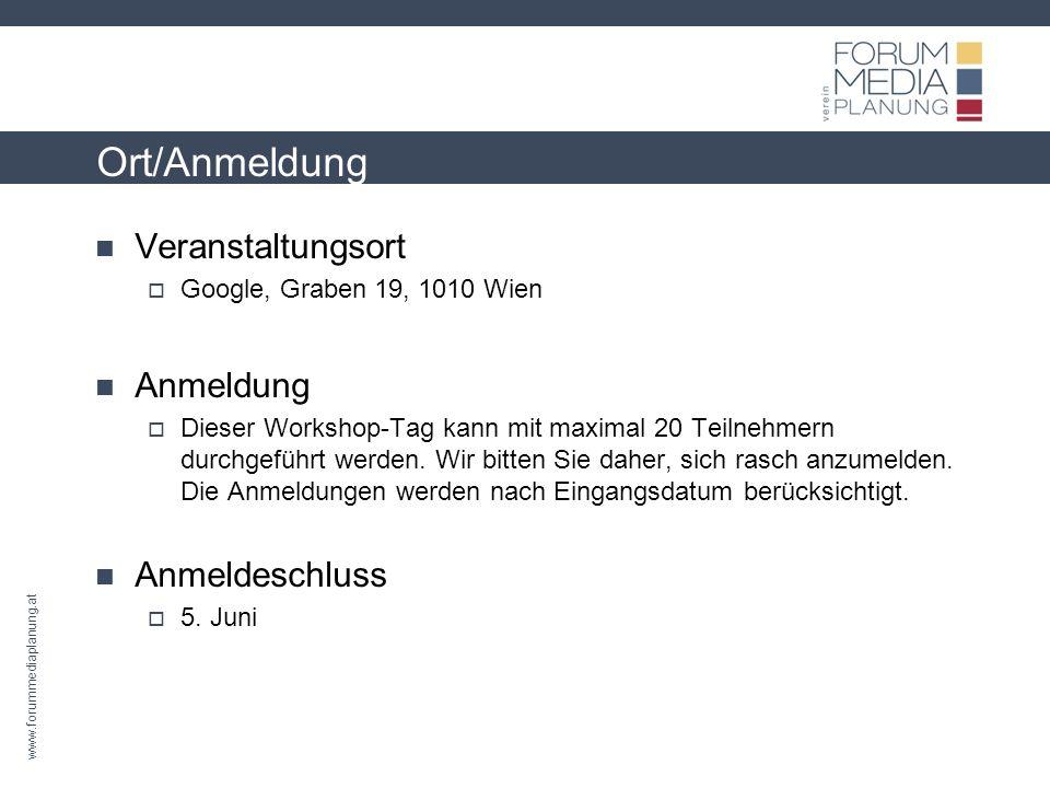 www.forummediaplanung.at KOSTEN 370 für die Teilnahme (inkl.