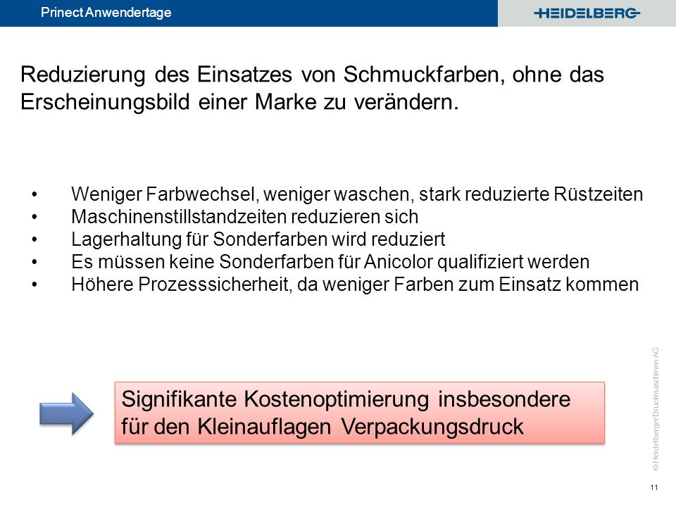 © Heidelberger Druckmaschinen AG Prinect Anwendertage 11 Reduzierung des Einsatzes von Schmuckfarben, ohne das Erscheinungsbild einer Marke zu verände