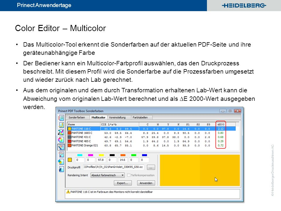 © Heidelberger Druckmaschinen AG Prinect Anwendertage Color Editor – Multicolor Das Multicolor-Tool erkennt die Sonderfarben auf der aktuellen PDF-Sei