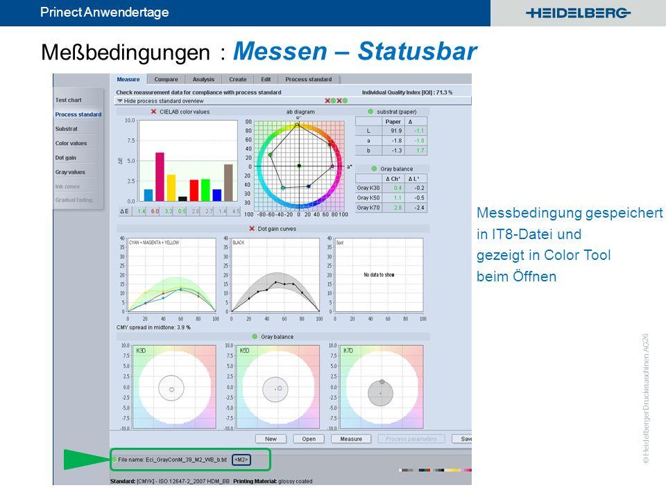 © Heidelberger Druckmaschinen AG Prinect Anwendertage 26 Messbedingung gespeichert in IT8-Datei und gezeigt in Color Tool beim Öffnen Meßbedingungen :