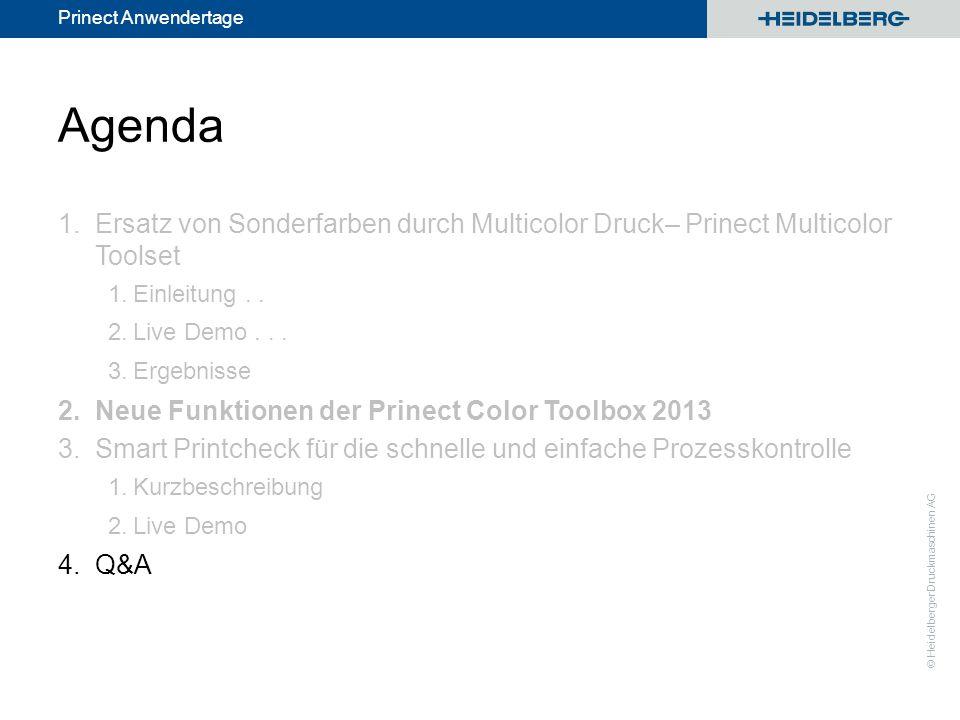 © Heidelberger Druckmaschinen AG Prinect Anwendertage Agenda 1.Ersatz von Sonderfarben durch Multicolor Druck– Prinect Multicolor Toolset 1.Einleitung