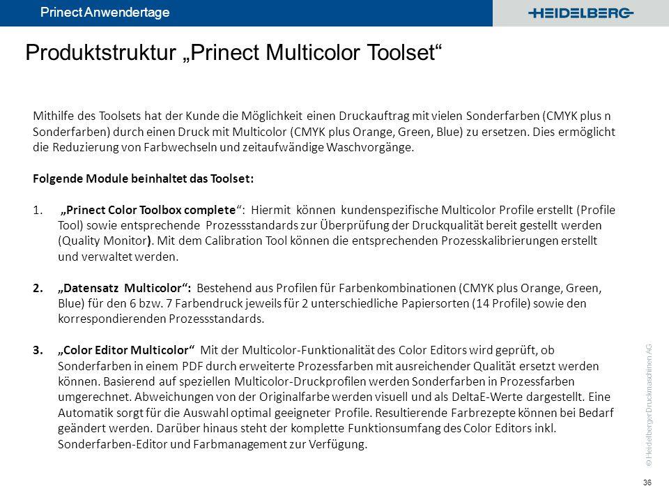 © Heidelberger Druckmaschinen AG Prinect Anwendertage Produktstruktur Prinect Multicolor Toolset 36 Mithilfe des Toolsets hat der Kunde die Möglichkei