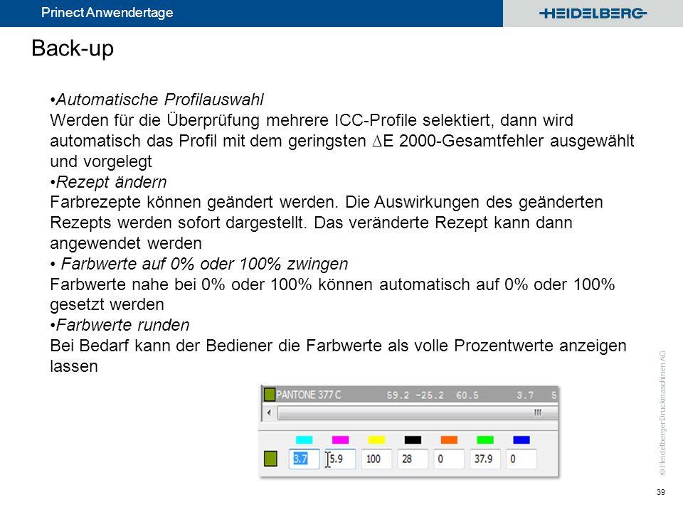 © Heidelberger Druckmaschinen AG Prinect Anwendertage Back-up 39 Automatische Profilauswahl Werden für die Überprüfung mehrere ICC-Profile selektiert,