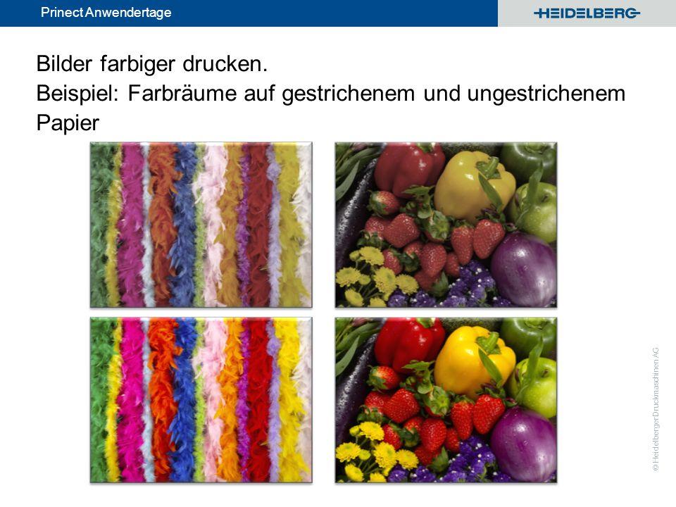 © Heidelberger Druckmaschinen AG Prinect Anwendertage Bilder farbiger drucken. Beispiel: Farbräume auf gestrichenem und ungestrichenem Papier