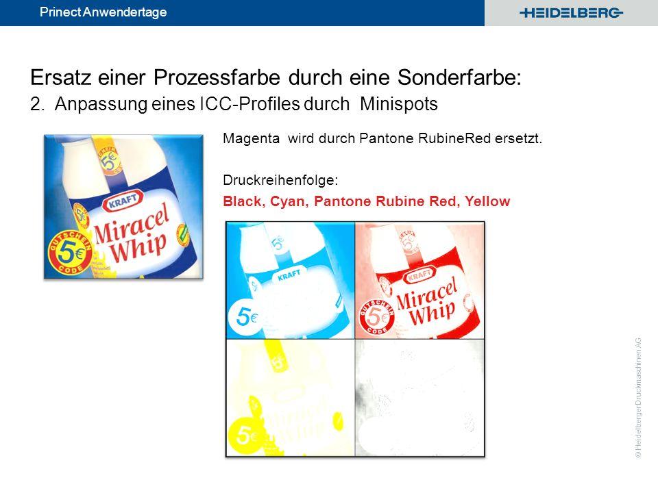 © Heidelberger Druckmaschinen AG Prinect Anwendertage Ersatz einer Prozessfarbe durch eine Sonderfarbe: 2. Anpassung eines ICC-Profiles durch Minispot