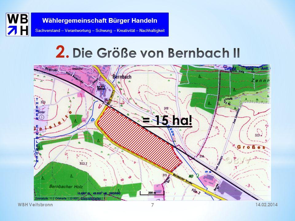 Wählergemeinschaft Bürger Handeln Sachverstand – Verantwortung – Schwung – Kreativität – Nachhaltigkeit 14.02.2014WBH Veitsbronn 7 = 15 ha!