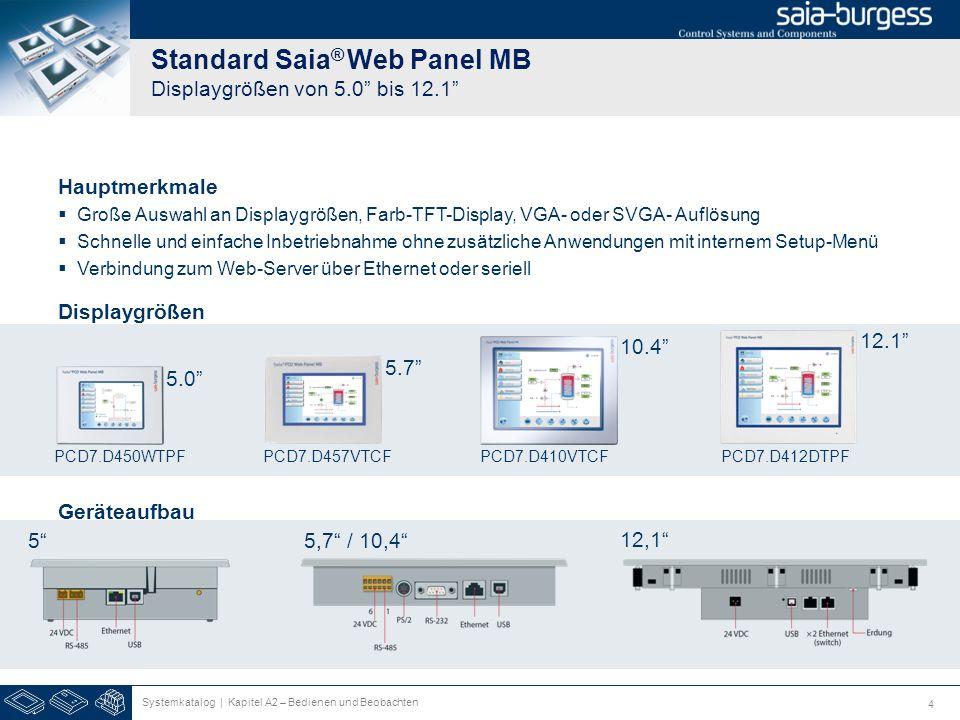 5 Saia ® pWeb Panel MB Zwei Funktionen in einem Gerät 10.4 PCD7.D410VT5F 12.1 PCD7.D412DT5F 5.7 PCD7.D457VT5F Logik Kontroller für Automatisierungen Programmierbar mit Saia ® PG5 Displaygrößen 5.7 10.4 12.1 2 Port Ethernet Switch bietet gute Anbindungsmöglichkeiten Systemkatalog | Kapitel A2 – Bedienen und Beobachten Visualisierung von Web Seiten mit Saia ® Micro-Browser