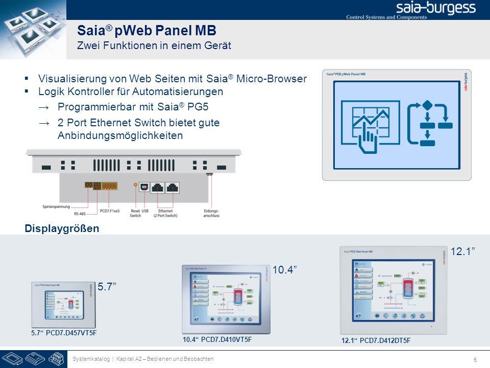 5 Saia ® pWeb Panel MB Zwei Funktionen in einem Gerät 10.4 PCD7.D410VT5F 12.1 PCD7.D412DT5F 5.7 PCD7.D457VT5F Logik Kontroller für Automatisierungen P
