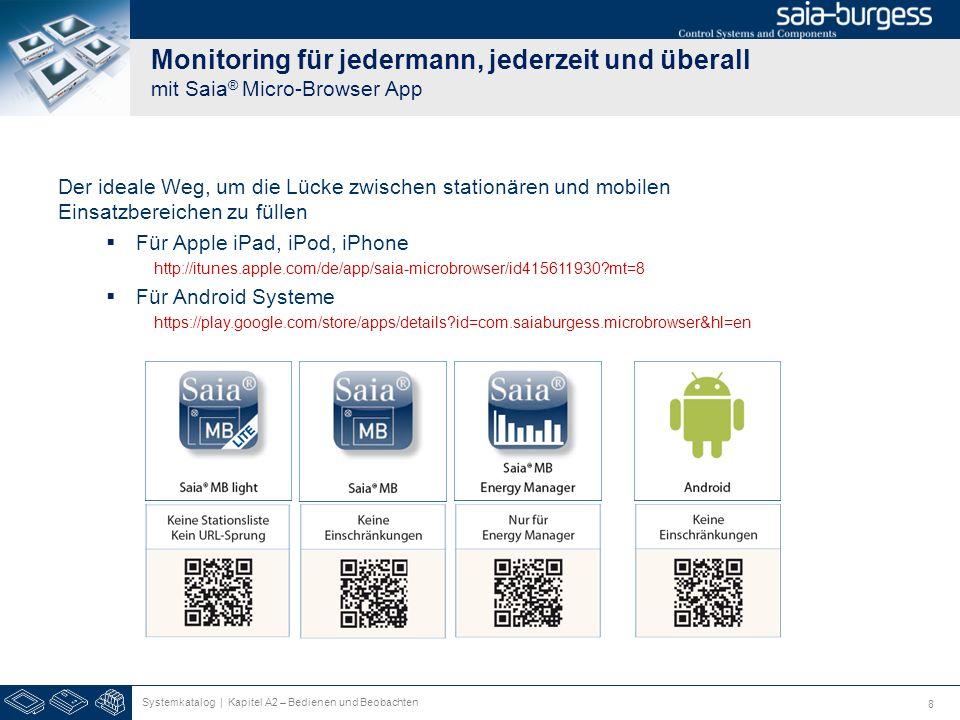 8 Monitoring für jedermann, jederzeit und überall mit Saia ® Micro-Browser App Der ideale Weg, um die Lücke zwischen stationären und mobilen Einsatzbe