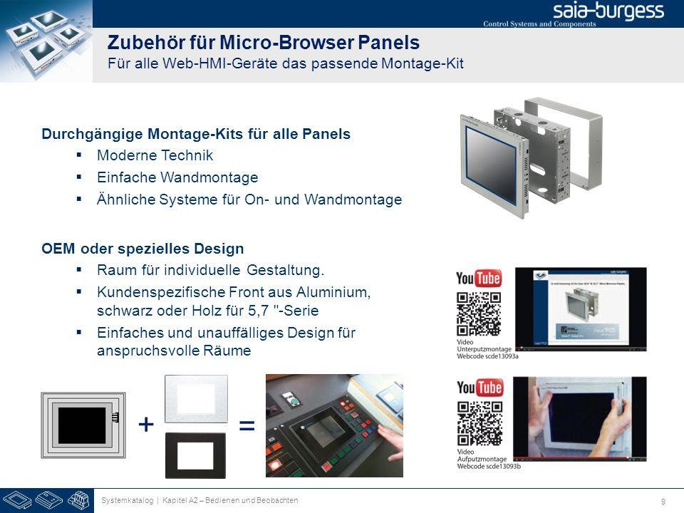 9 Zubehör für Micro-Browser Panels Für alle Web-HMI-Geräte das passende Montage-Kit Durchgängige Montage-Kits für alle Panels Moderne Technik Einfache