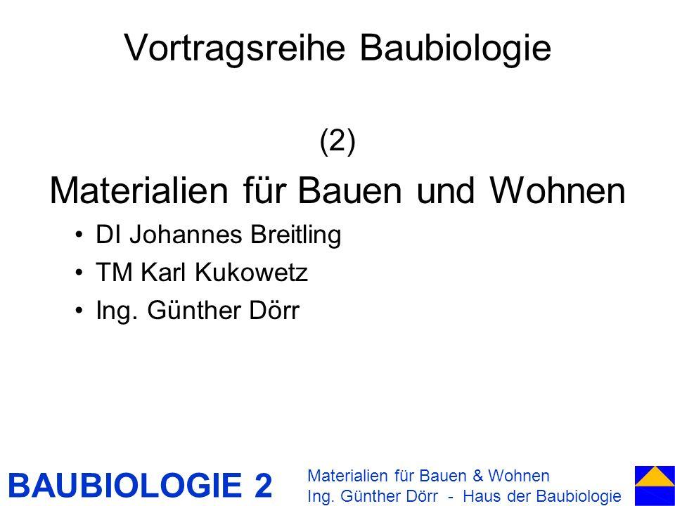 BAUBIOLOGIE 2 Vortragsreihe Baubiologie (2) Materialien für Bauen und Wohnen DI Johannes Breitling TM Karl Kukowetz Ing. Günther Dörr Materialien für