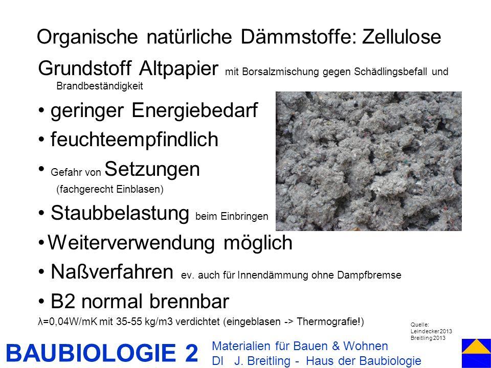 BAUBIOLOGIE 2 Grundstoff Altpapier mit Borsalzmischung gegen Schädlingsbefall und Brandbeständigkeit geringer Energiebedarf feuchteempfindlich Gefahr