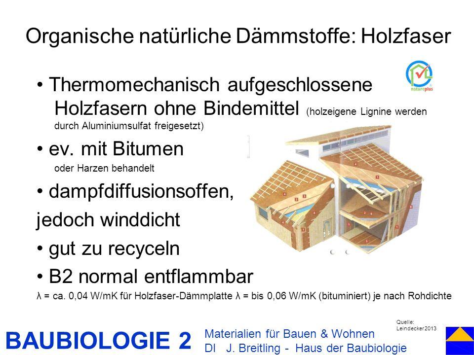 BAUBIOLOGIE 2 Thermomechanisch aufgeschlossene Holzfasern ohne Bindemittel (holzeigene Lignine werden durch Aluminiumsulfat freigesetzt) ev. mit Bitum