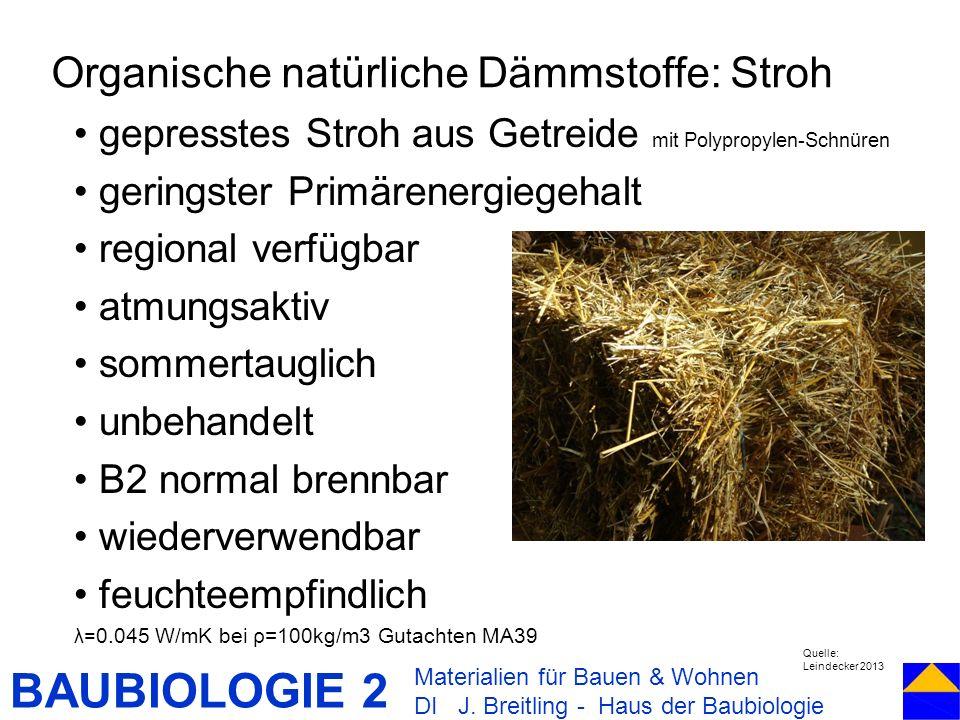 BAUBIOLOGIE 2 gepresstes Stroh aus Getreide mit Polypropylen-Schnüren geringster Primärenergiegehalt regional verfügbar atmungsaktiv sommertauglich un