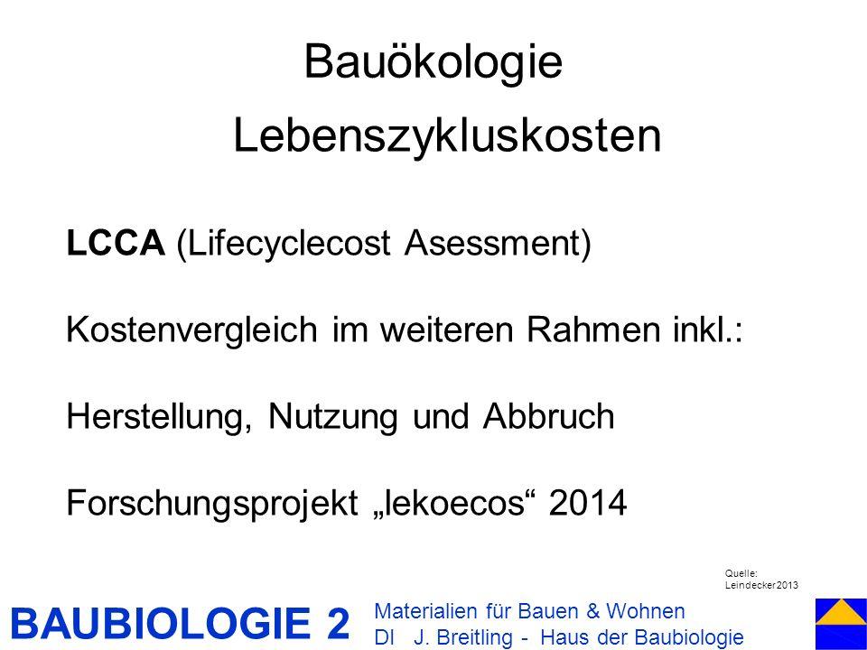 BAUBIOLOGIE 2 Bauökologie Materialien für Bauen & Wohnen DI J. Breitling - Haus der Baubiologie Lebenszykluskosten LCCA (Lifecyclecost Asessment) Kost
