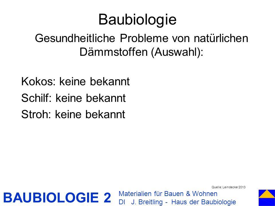 BAUBIOLOGIE 2 Kokos: keine bekannt Schilf: keine bekannt Stroh: keine bekannt Baubiologie Materialien für Bauen & Wohnen DI J. Breitling - Haus der Ba