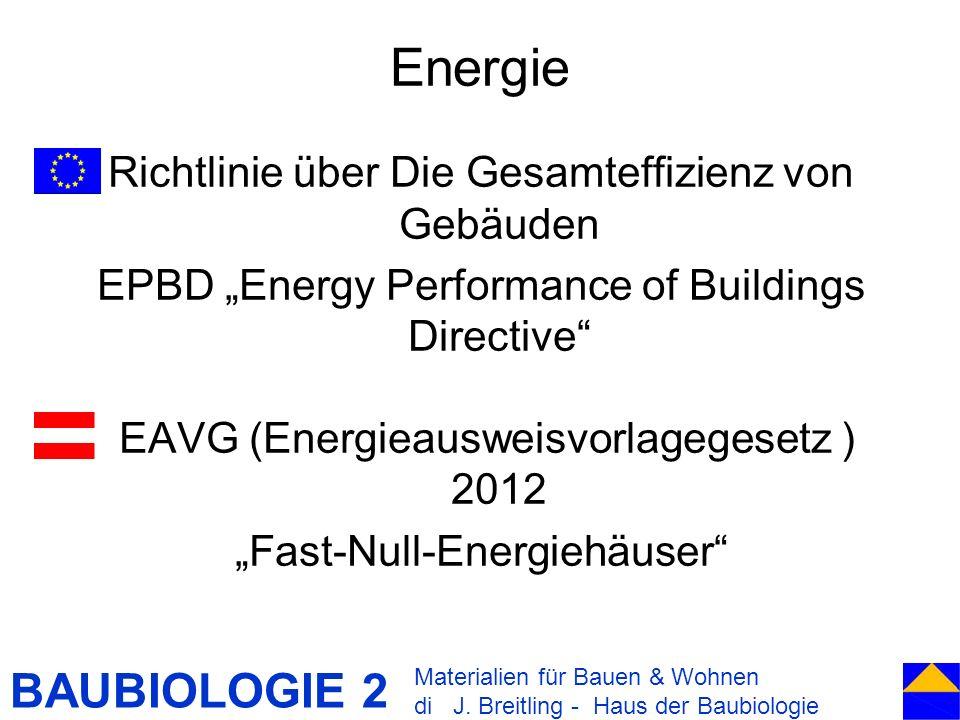 BAUBIOLOGIE 2 Energie Richtlinie über Die Gesamteffizienz von Gebäuden EPBD Energy Performance of Buildings Directive EAVG (Energieausweisvorlagegeset