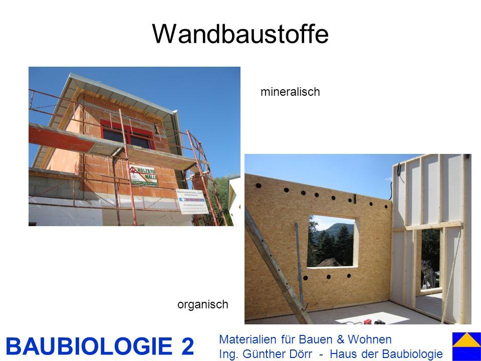 BAUBIOLOGIE 2 Wandbaustoffe Materialien für Bauen & Wohnen Ing. Günther Dörr - Haus der Baubiologie mineralisch organisch