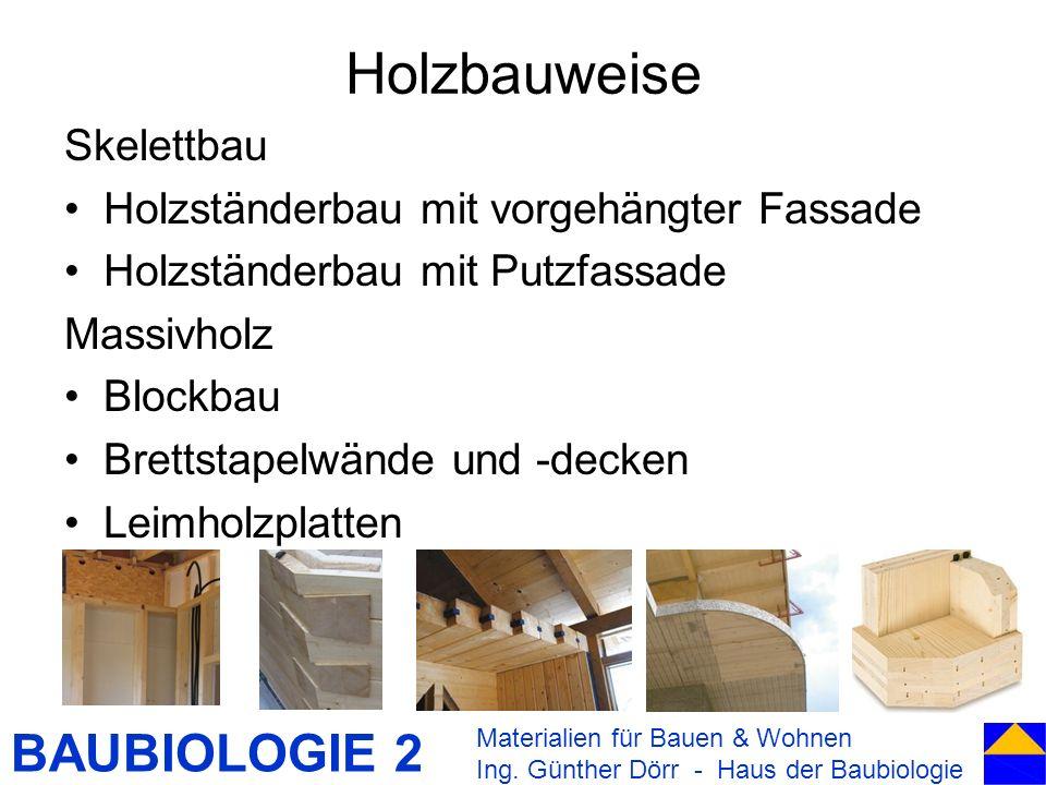 BAUBIOLOGIE 2 Holzbauweise Skelettbau Holzständerbau mit vorgehängter Fassade Holzständerbau mit Putzfassade Massivholz Blockbau Brettstapelwände und