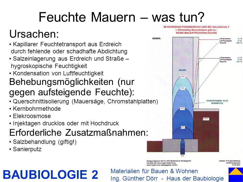 BAUBIOLOGIE 2 Feuchte Mauern – was tun? Materialien für Bauen & Wohnen Ing. Günther Dörr - Haus der Baubiologie Ursachen: Kapillarer Feuchtetransport