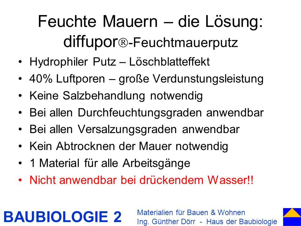 BAUBIOLOGIE 2 Feuchte Mauern – die Lösung: diffupor -Feuchtmauerputz Hydrophiler Putz – Löschblatteffekt 40% Luftporen – große Verdunstungsleistung Ke