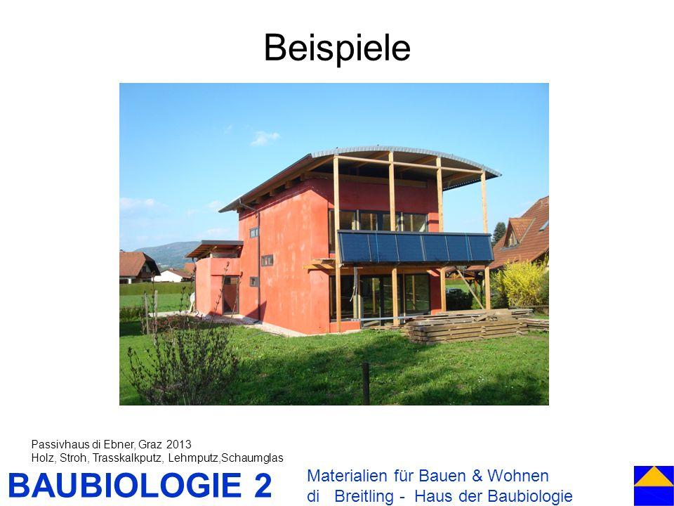 BAUBIOLOGIE 2 Beispiele Materialien für Bauen & Wohnen di Breitling - Haus der Baubiologie Passivhaus di Ebner, Graz 2013 Holz, Stroh, Trasskalkputz,