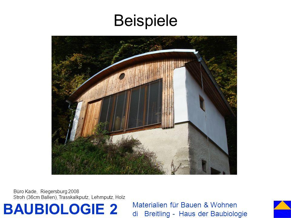 BAUBIOLOGIE 2 Beispiele Materialien für Bauen & Wohnen di Breitling - Haus der Baubiologie Büro Kade, Riegersburg 2008 Stroh (36cm Ballen), Trasskalkp