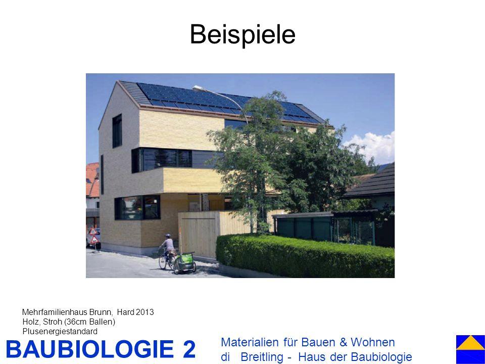 BAUBIOLOGIE 2 Beispiele Materialien für Bauen & Wohnen di Breitling - Haus der Baubiologie Mehrfamilienhaus Brunn, Hard 2013 Holz, Stroh (36cm Ballen)