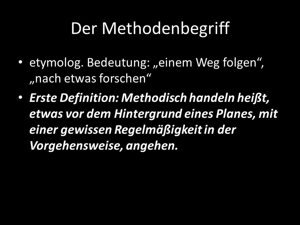 Der Methodenbegriff etymolog. Bedeutung: einem Weg folgen, nach etwas forschen Erste Definition: Methodisch handeln heißt, etwas vor dem Hintergrund e