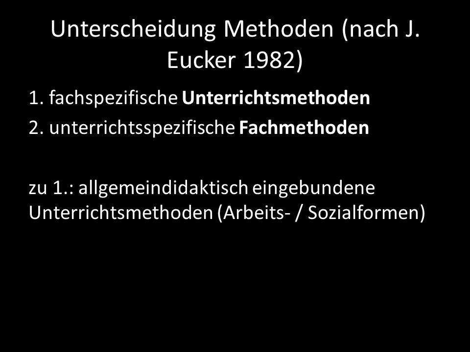 Unterscheidung Methoden (nach J. Eucker 1982) 1. fachspezifische Unterrichtsmethoden 2. unterrichtsspezifische Fachmethoden zu 1.: allgemeindidaktisch