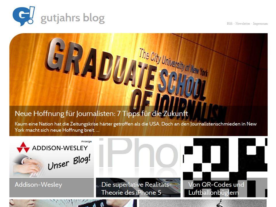 Ideal für freie Journalisten: Sie zeigen Kompetenz für das Trendthema Internet Sie zeigen Kompetenz für das Thema, über das Sie bloggen Blogbeiträge werden in Suchmaschinen gegenüber normalen Webseiten bevorzugt.