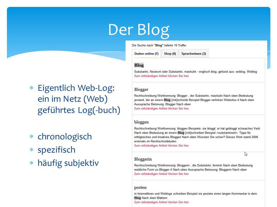 Eigentlich Web-Log: ein im Netz (Web) geführtes Log(-buch) chronologisch spezifisch häufig subjektiv Der Blog