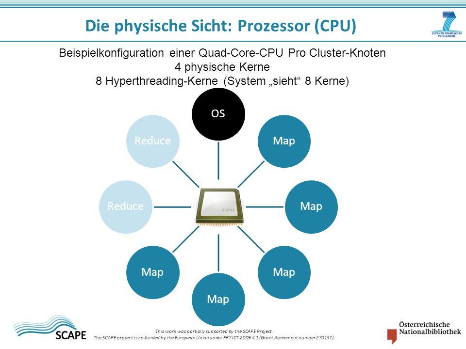 Die physische Sicht: Prozessor (CPU) Beispielkonfiguration einer Quad-Core-CPU Pro Cluster-Knoten 4 physische Kerne 8 Hyperthreading-Kerne (System sieht 8 Kerne) OSMap Reduce This work was partially supported by the SCAPE Project.