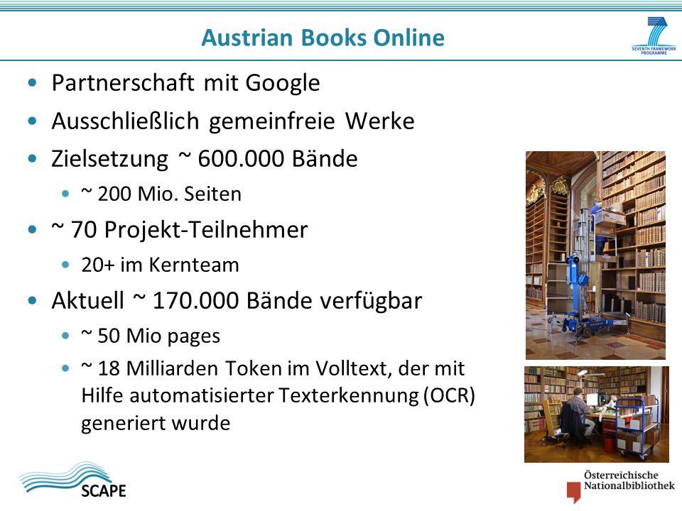 Partnerschaft mit Google Ausschließlich gemeinfreie Werke Zielsetzung ~ 600.000 Bände ~ 200 Mio.