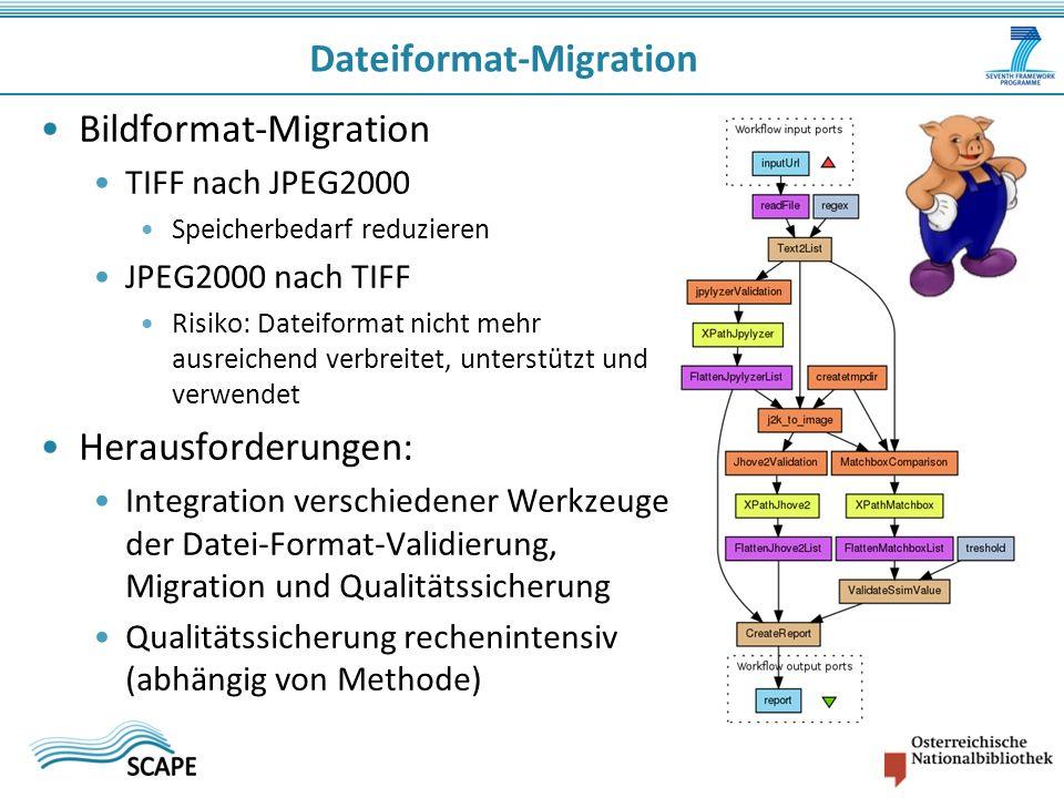 Bildformat-Migration TIFF nach JPEG2000 Speicherbedarf reduzieren JPEG2000 nach TIFF Risiko: Dateiformat nicht mehr ausreichend verbreitet, unterstützt und verwendet Herausforderungen: Integration verschiedener Werkzeuge der Datei-Format-Validierung, Migration und Qualitätssicherung Qualitätssicherung rechenintensiv (abhängig von Methode) Dateiformat-Migration
