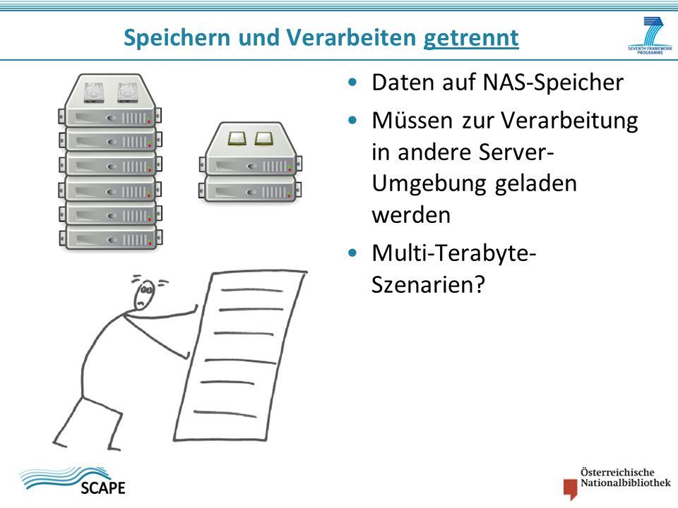 Daten auf NAS-Speicher Müssen zur Verarbeitung in andere Server- Umgebung geladen werden Multi-Terabyte- Szenarien.