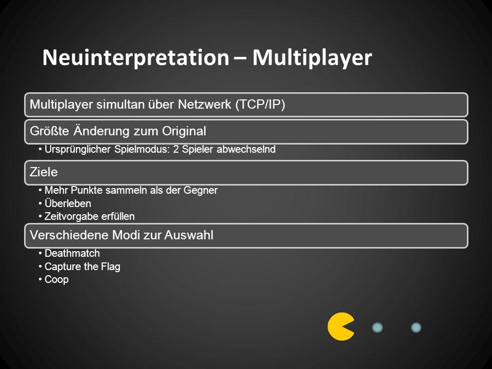 Neuinterpretation – Multiplayer Multiplayer simultan über Netzwerk (TCP/IP)Größte Änderung zum Original Ursprünglicher Spielmodus: 2 Spieler abwechselnd Ziele Mehr Punkte sammeln als der Gegner Überleben Zeitvorgabe erfüllen Verschiedene Modi zur Auswahl Deathmatch Capture the Flag Coop