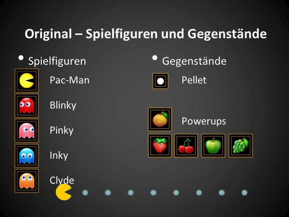 Original – Spielfiguren und Gegenstände Spielfiguren Gegenstände Pac-Man Blinky Pinky Inky Clyde Pellet Powerups