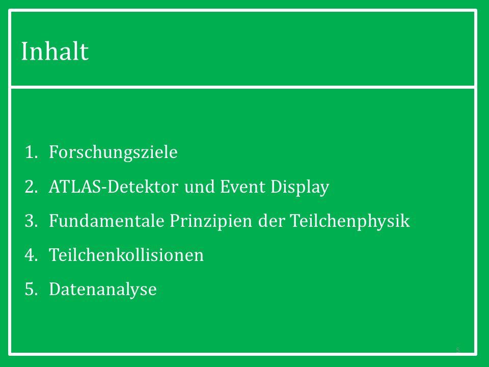 1.Forschungsziele 2.ATLAS-Detektor und Event Display 3.Fundamentale Prinzipien der Teilchenphysik 4.Teilchenkollisionen 5.Datenanalyse Inhalt 6