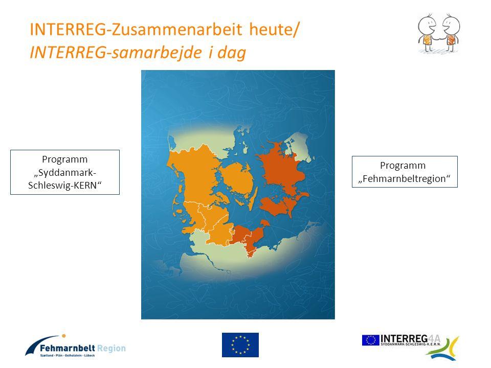 INTERREG-Zusammenarbeit heute/ INTERREG-samarbejde i dag Programm Syddanmark- Schleswig-KERN Programm Fehmarnbeltregion