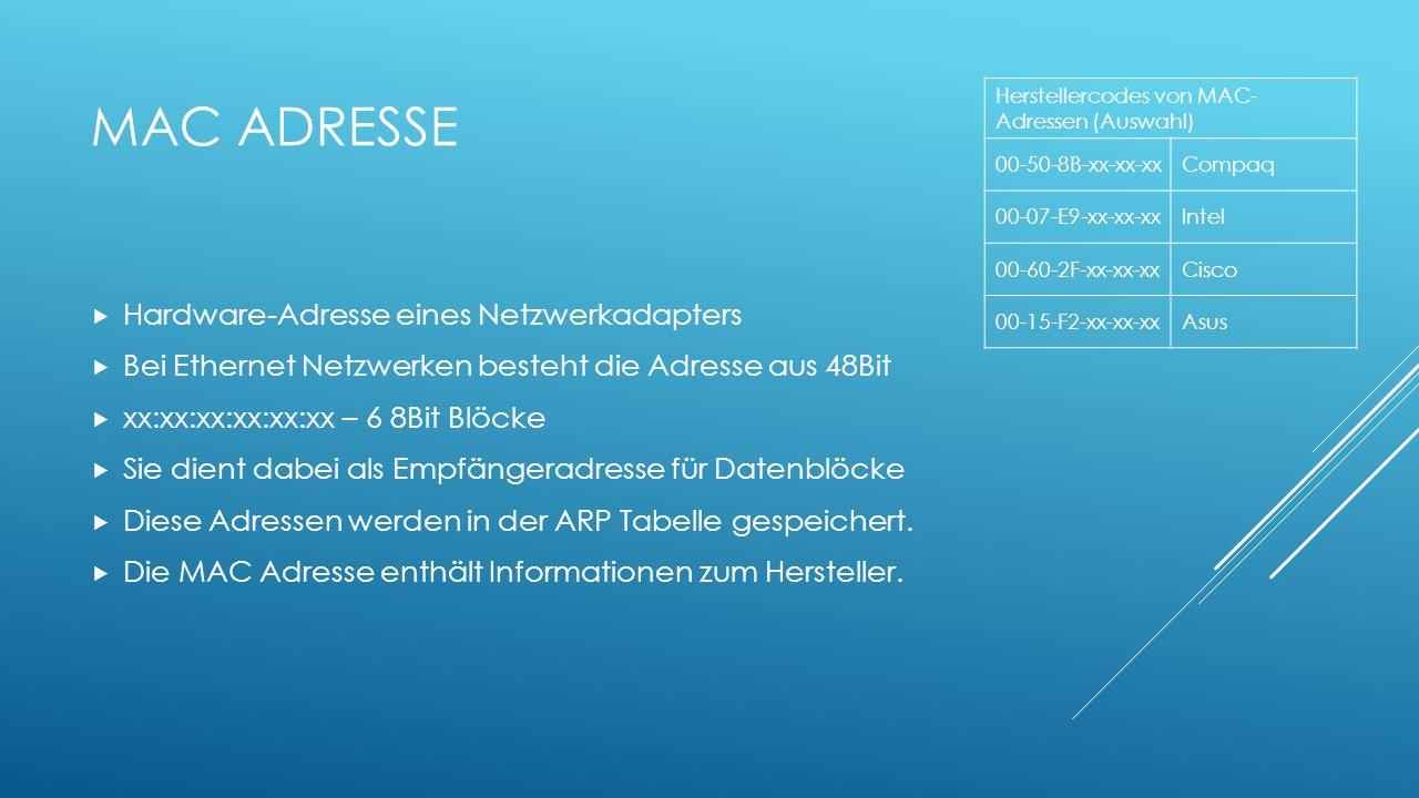 MAC ADRESSE Hardware-Adresse eines Netzwerkadapters Bei Ethernet Netzwerken besteht die Adresse aus 48Bit xx:xx:xx:xx:xx:xx – 6 8Bit Blöcke Sie dient
