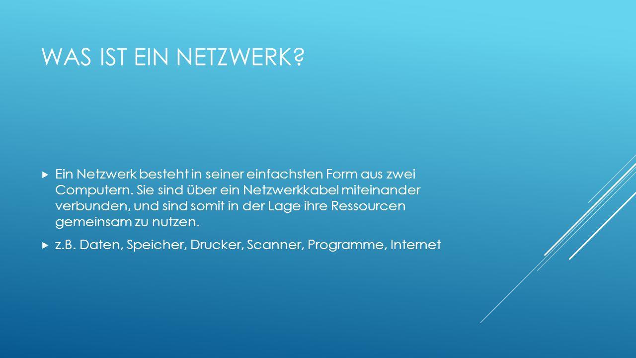 WAS IST EIN NETZWERK? Ein Netzwerk besteht in seiner einfachsten Form aus zwei Computern. Sie sind über ein Netzwerkkabel miteinander verbunden, und s