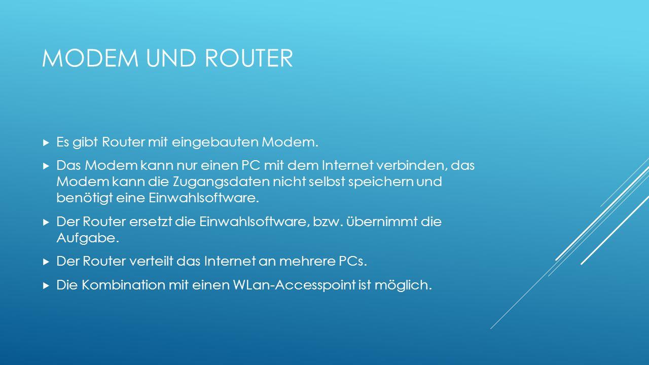 MODEM UND ROUTER Es gibt Router mit eingebauten Modem. Das Modem kann nur einen PC mit dem Internet verbinden, das Modem kann die Zugangsdaten nicht s