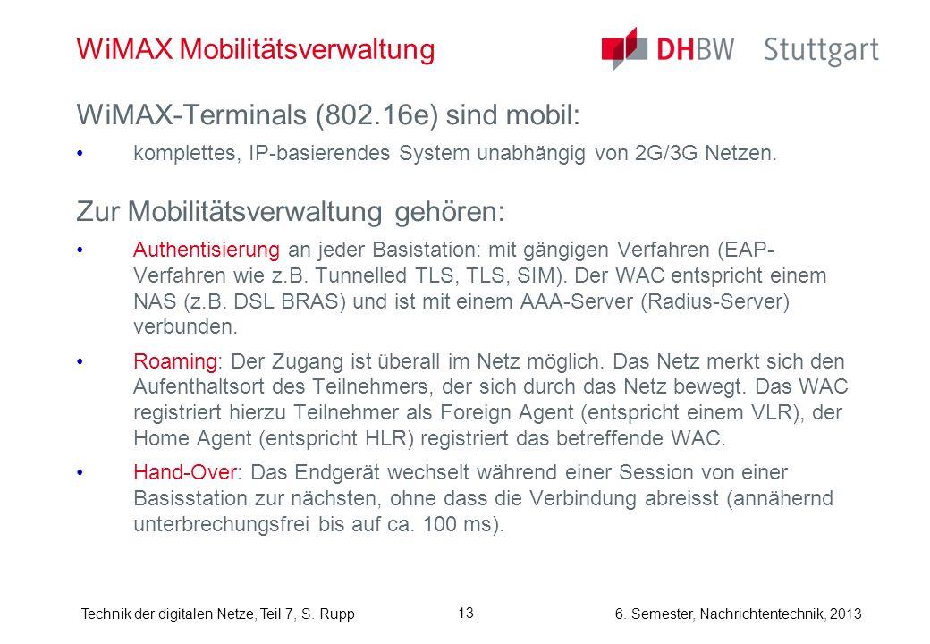 6. Semester, Nachrichtentechnik, 2013Technik der digitalen Netze, Teil 7, S. Rupp 13 WiMAX Mobilitätsverwaltung WiMAX-Terminals (802.16e) sind mobil: