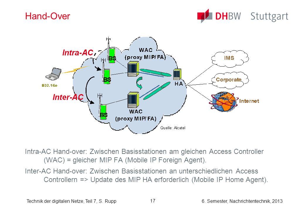 6. Semester, Nachrichtentechnik, 2013Technik der digitalen Netze, Teil 7, S. Rupp 17 Hand-Over Intra-AC Hand-over: Zwischen Basisstationen am gleichen